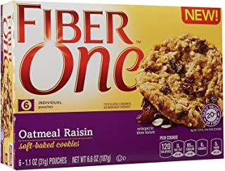 Fiber One Soft Baked Cookies - Oatmeal Raisin - 6.6 Oz (Pack of 3)