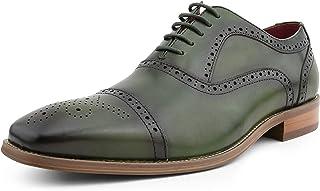 AG114 - Men's Dress Shoes - Genuine Leather Cap Toe Oxfords, Lace Up Mens Dress Shoes - Unique Decorations and Broguing
