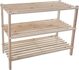 Lavish Home Wood Shoe Rack, Storage Bench – Closet, Bathroom, Kitchen, Entry Organizer, 3-Tier Space Saver Shoe Rack