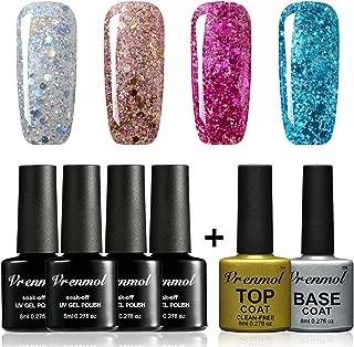 Vrenmol Gel Nail Polish with Top and Base Coat Set Soak Off Bling Gel Nail Lacquer Glitter Nai Art Varnish Kit 8ml