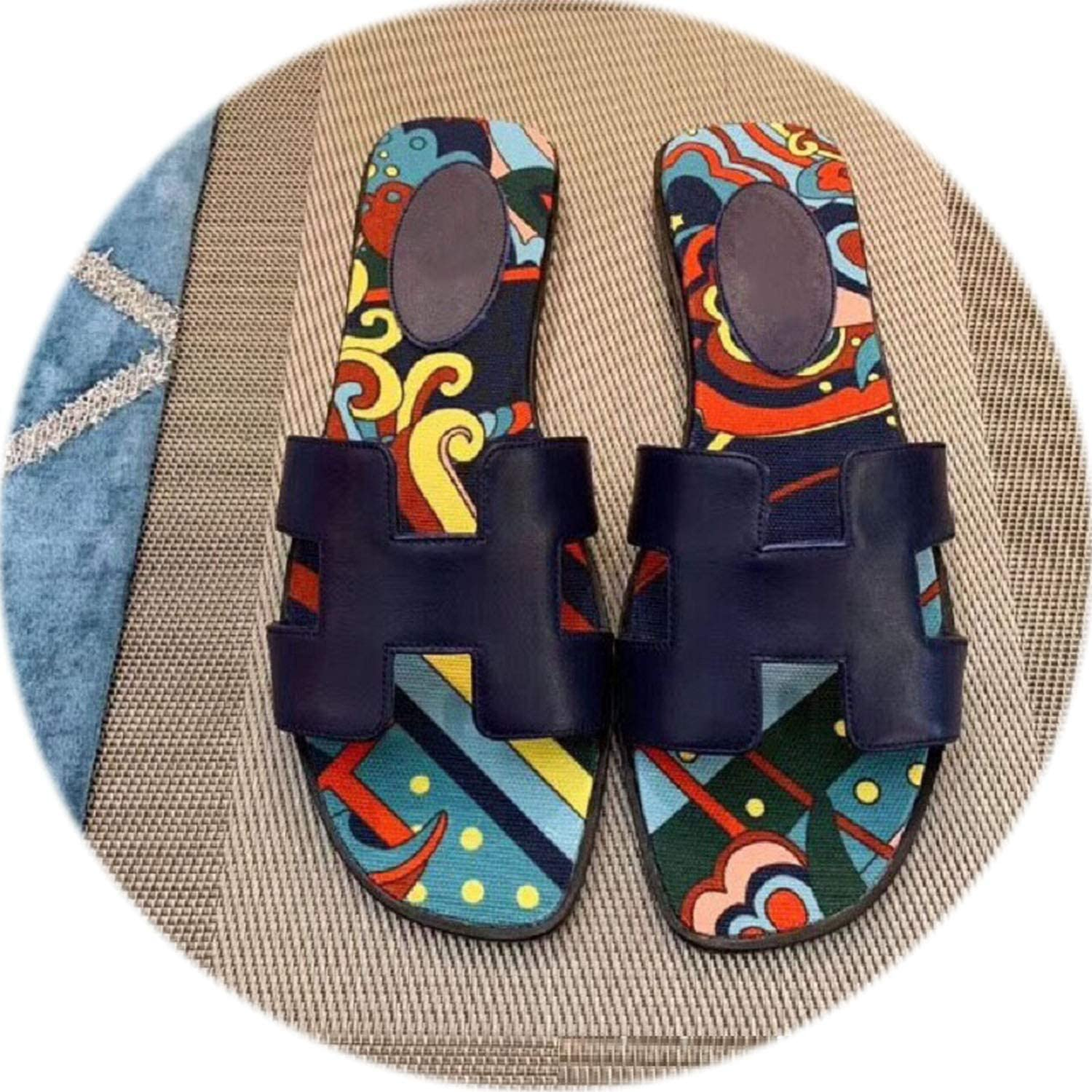 colorful-space 2019 Summer New Cool Slippers Beach Fashion Comfortable Indoor Non-Slip Outdoor Genuine Leather Slippers