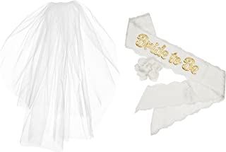 Bachelorette Bride to Be 2 Tier Plain Edge Veil & White Satin & Lace Sash With Gold Lettering for Hen & Bridal Shower Party