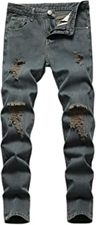 Sponsored Ad - Wedama Boy's Distressed Ripped Moto Biker Stretch Fashion Skinny Fit Denim Jeans