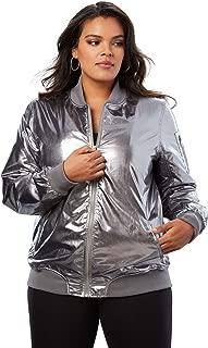 Women's Plus Size Zip-Front Bomber Jacket