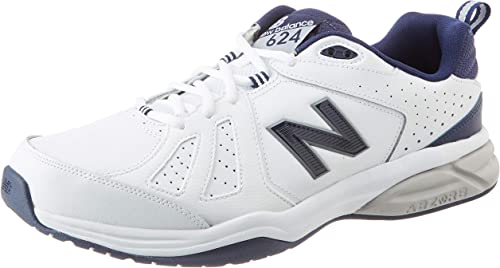New Balance Men's 624 Cross Training Shoes, White/Navy