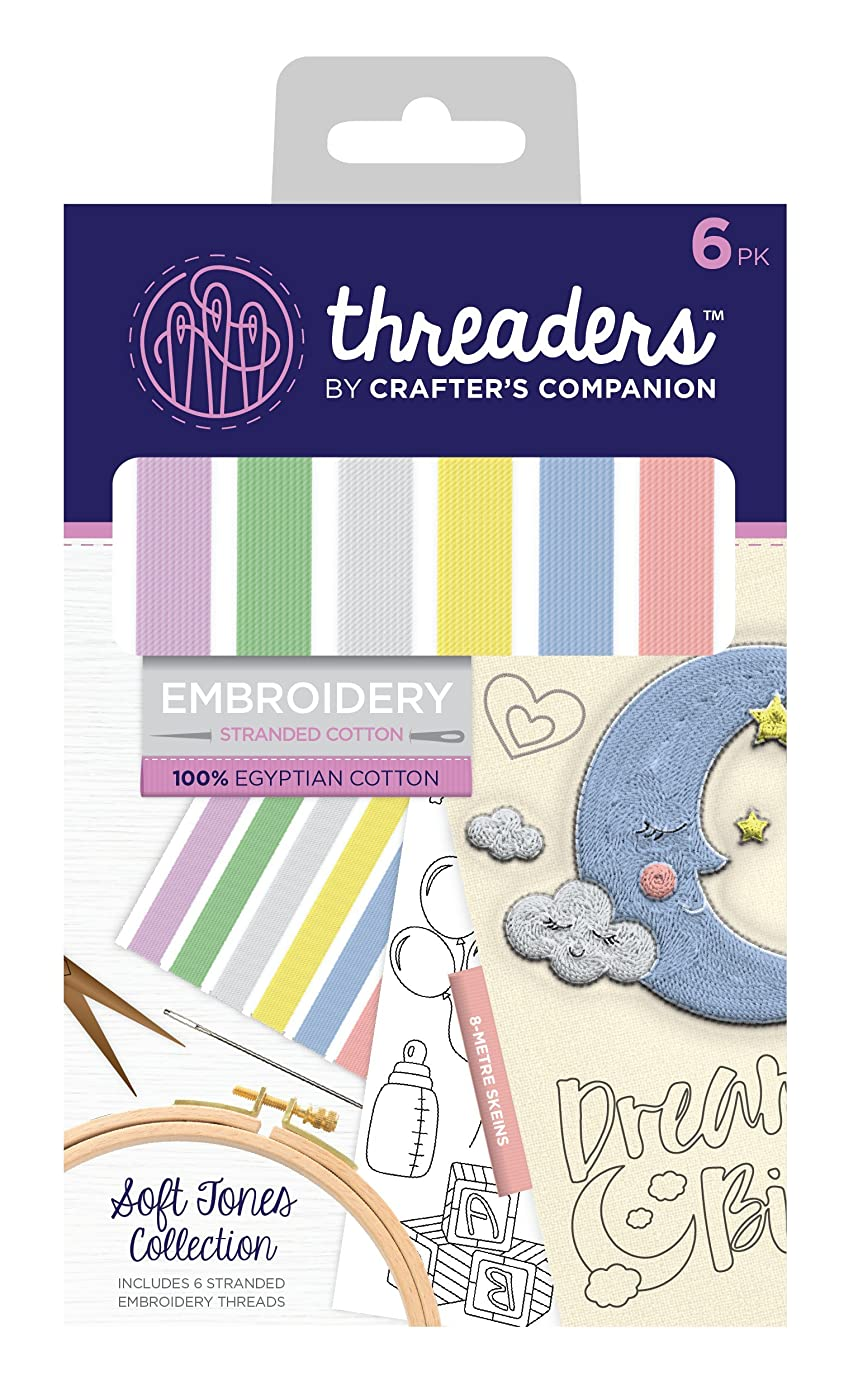 Threaders Soft Tones Collection Stranded Embroidery Set, 100 Percent Egyptian Cotton Multi-Colour, One Size