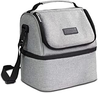 ZinonMax Insulated Lunch Bag Adult Lunch Box Large Cooler Tote Bag for Men, Women, Double Deck Cooler Lunch Tote