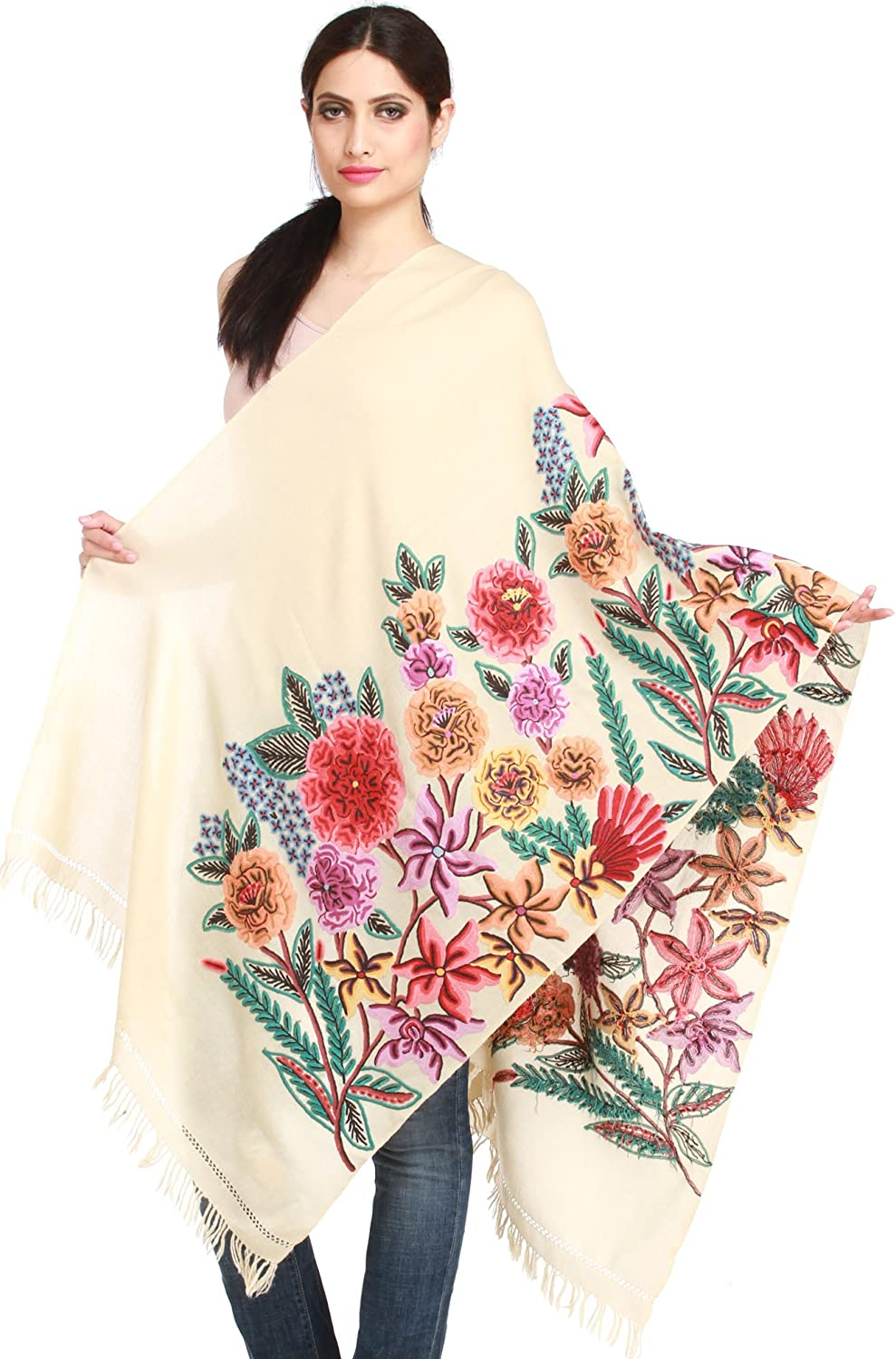 Exotic India Kashmiri Stole with Ari-Hand Embroidered G
