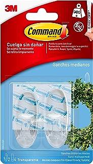 Command 17091CLR Pack de 2 ganchos medianos con tiras, transparente, Set de 2 Piezas