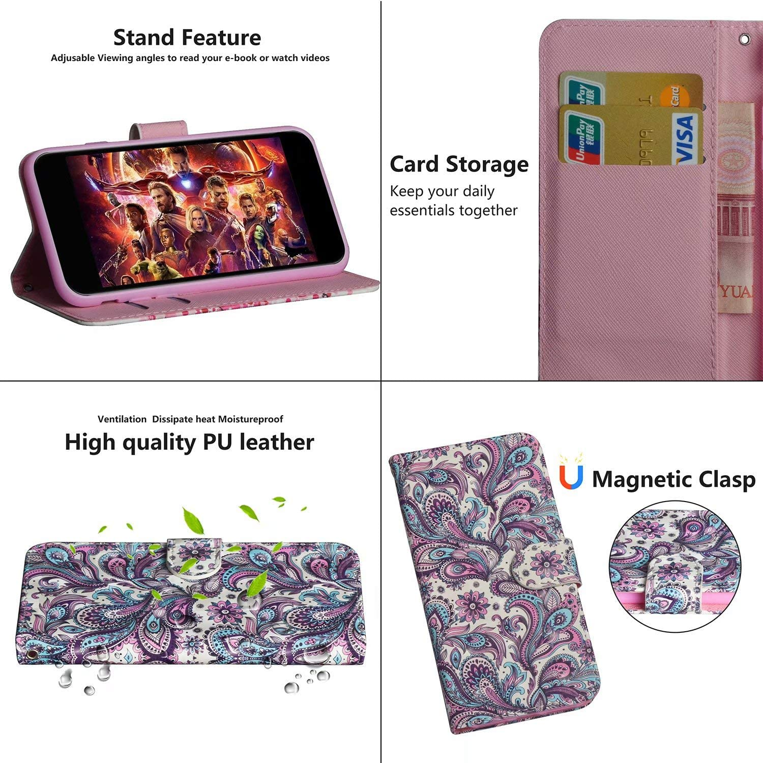 Lvnarery Samsung Galaxy S20 FE Flip Case,PU Leather wallet flip booklet case magnetic protective cover with shockproof TPU,Stand function,Card Slots Protection Cover Gold butterfly