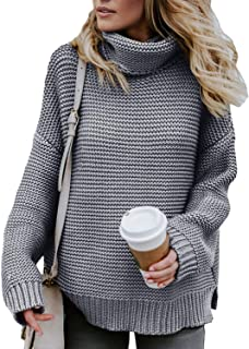 Asvivid Womens Turtleneck Long Sleeve Chunky Knit...