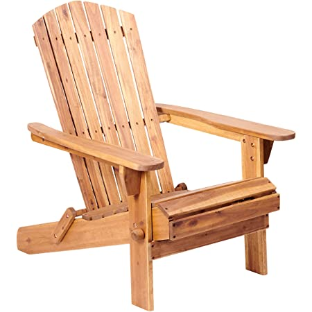Plant Theatre Adirondack Chair - Outdoor, Acacia Hardwood, Folding Chairs for Lawn, Fire Pit & Patio