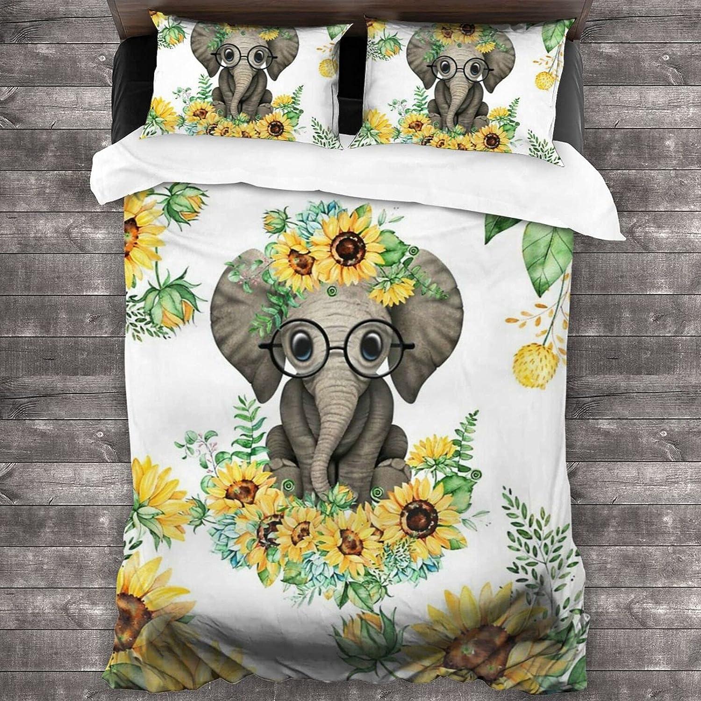 Jreergy Elephant Sunflower Seattle Mall Leaf 3 High quality new Piece Full Set Twin Bedding Qu