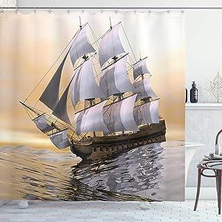 ABAKUHAUS Paisaje Artístico Cortina de Baño, Viejo Barco Mercante en Océano Cielo Nublado sobre el Mar Aventura, Material Resistente al Agua Durable Estampa Digital, 175 x 200 cm, Gris
