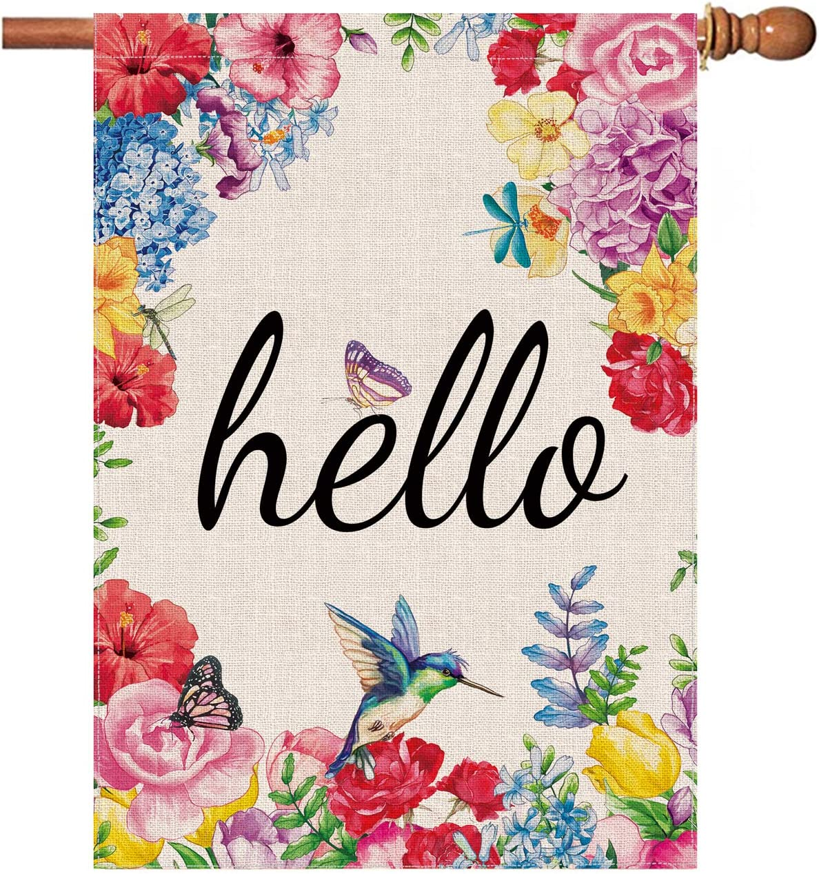 Hexagram Hello Spring Flags Year-end annual account 28 overseas x Watercolor Sided Double Spri 40