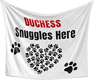 Bouncing Brick Designs Duchess Snuggles Here - Personalized Dog Themed Throw Blanket, Soft White Premium Sherpa Material, 50x60 Inches, Birthday Present, Unique Special Fun Idea