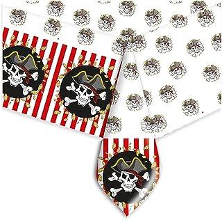 Big Party Pirates Mantel de PVC Decorada, Color Blanco/Negro