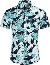 ZEROYAA Men's Summer Slim Fit Casual Button Down Hawaiian Shirt with Pocket