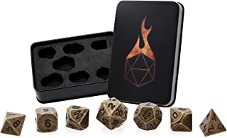 Forged Dice Co. Metal Dice Set - Polyhedral Dice Set of 7 with Dice Storage Tin and Stickers - Metal DND Dice and Gaming Dice for Dungeons and Dragons RPG Games