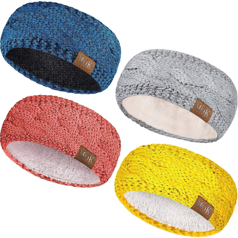4 Pieces Women Warm Fuzzy Fleece Lined Headband Winter Knit Ear Warmer Headwrap Confetti Thick Cable Headband (Warm Set)