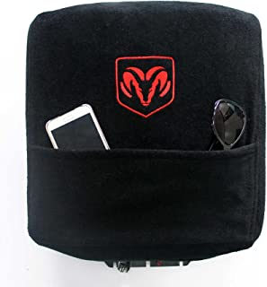 Seat Armour KADRAMBJS02-16 Custom Fit Console Cover with Embroidered Logo for Select Dodge Ram Models with Jump Cotton (Black) (Officially Licensed, Third Bench Seats)