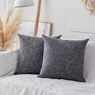 """Best Kevin Textile Square Throw Pillow Cover, Linen Soft Cushion Covers, 24"""" x 24"""" Farmhouse Pillowcase, Home Decor Decorations for Sofa Couch, Set of 2, Dark Grey Review"""