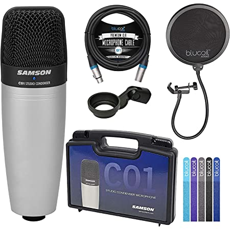 Samson C01 Large-Diaphragm Condenser Microphone for Recording Vocals, Acoustic Instruments, Overhead Drums Bundle with Blucoil Pop Filter Windscreen, 10-FT Balanced XLR Cable, and 5X Cable Ties