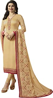 kd Georgette Satin Embroidered Anarkali Salwar Suit (Semi Stitched), Cream Colors