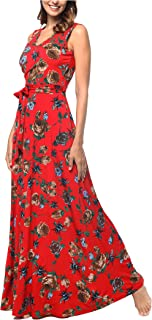 Women's Summer V Neck Floral Maxi Dress Casual Long Dresses with Pockets