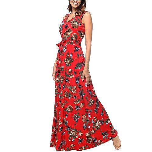 d58e5835d Comila Women's Summer V Neck Floral Maxi Dress Casual Long Dresses with  Pockets