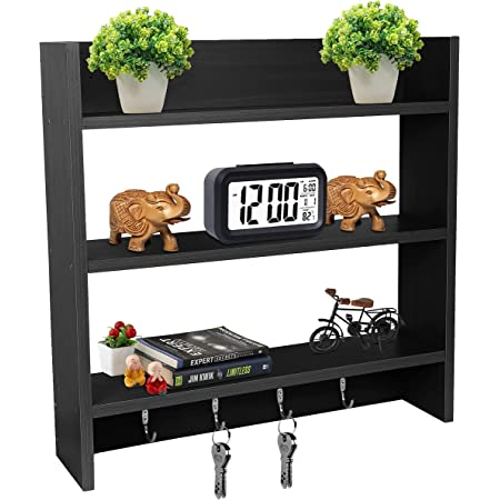 Callas Wooden Wall Mounted Shelves with Hooks | Floor Rack | Organizer | Shelf for Kitchen Storage Boxes (3 Shelves | Color - Black | Material - MDF Wooden)