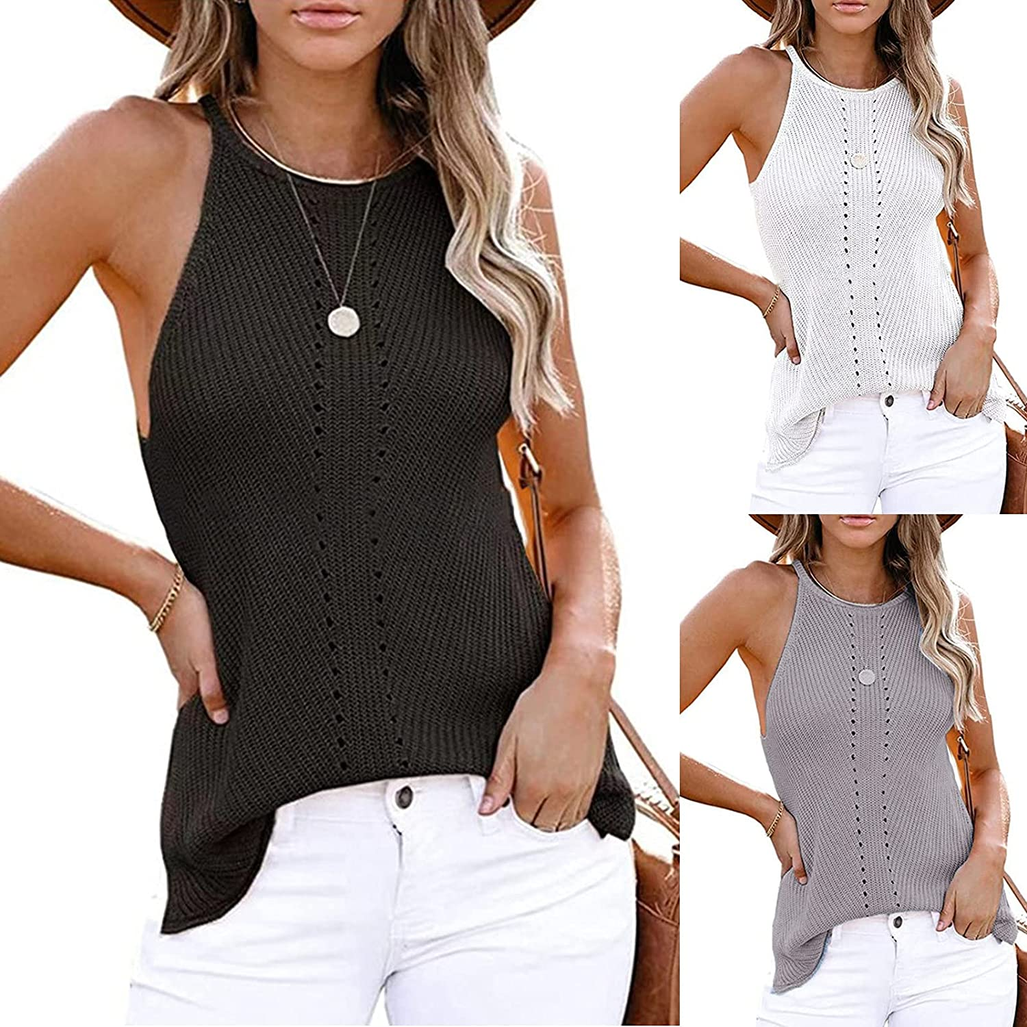 Women's Tank Tops Summer Loose Tank Casual Sleeveless Blouses Knit Camis Sweater