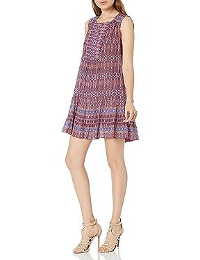 BCBGMax Azria Women's Yulissa Sleeveless Ruffled Button Detail Woven City Dress