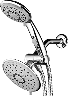 30-Setting 6 Inch Rain Shower Head with Handheld Shower Combo featuring Patented ON/OFF Pause Switch by Hydroluxe - Use Each Showerhead Separately or Both Together! Premium Chrome Finish