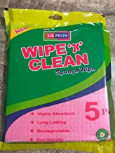 Wipe N Clean Cellulose and Cotton Sponge Wipes for Kitchen, 170x210 mm - 5 Pieces