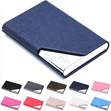 MUCO Business Name Card Holder Luxury PU Leather & Stainless Steel Multi Card Case Professional Credit Card Wallet Keep Your Business Cards Clean for Men & Women (Blue)