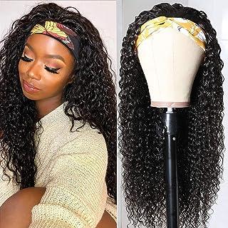 Headband Human Hair Wig Kinky Curly Glueless Human Hair Wigs Original Queen Headband Wigs for Black Women Natural Color 180% Density 16Inch(40cm)