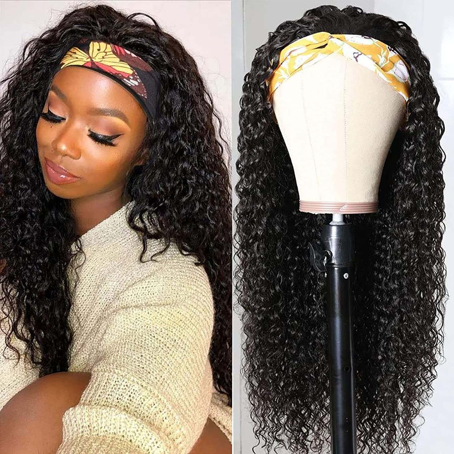 Kinky Curly Max 82% OFF Headband Wig NEW before selling Brazilian Human Black Wom Wigs for Hair