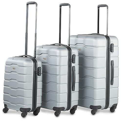 54c05035c VonHaus Luggage Set of 3 ABS Lightweight Hard Shell Silver Suitcase - 4  Wheel 360°