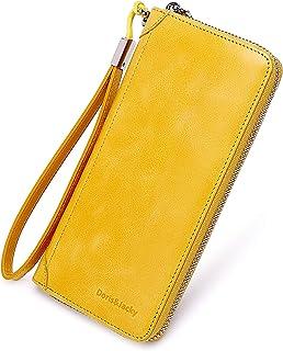 Women Leather Wallet RFID Blocking Large Capacity Zipper Around Travel Wristlet Bags (Yellow)
