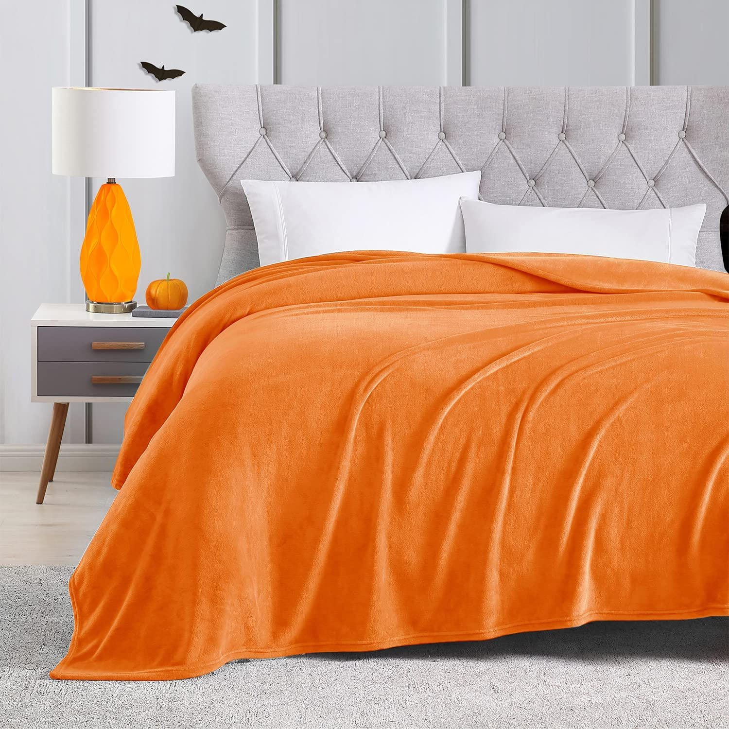 EXQ Home Fleece Blanket Today's only Very popular! King Size Orange for Bed o Throw