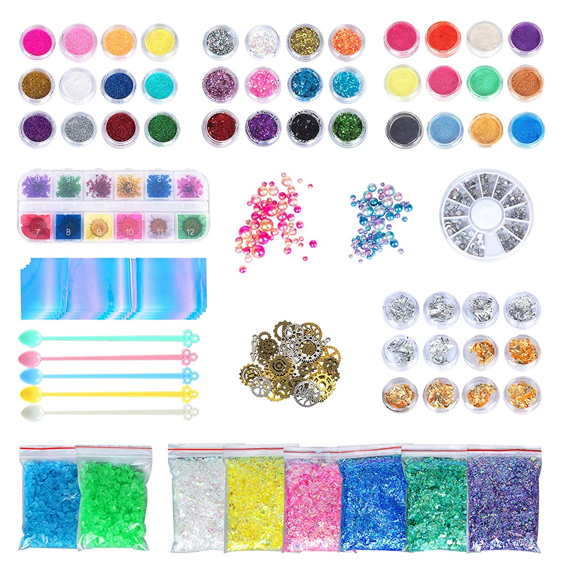 More Than 50 Pcs Resin Jewelry Making Supplies Kit Art Craft Supplies for Resin, Slime, Nail Art, DIY Craft, Including Glitter,Powder,Mylar Flakes,Dry Flowers, Beads,Wheel Gears,Foil,Glass Stone