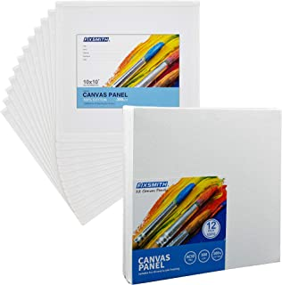 FIXSMITH Painting Canvas Panels - 10x10 Inch Canvas Board Super Value 12 Pack,100% Cotton,Square Canvas Panel,Acid Free,Artist Canvas Boards for Professionals,Hobby Painters,Students & Kids.