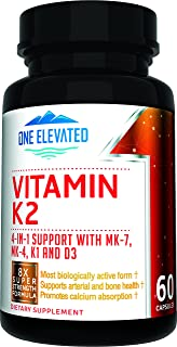 8X Strength Natural Vitamin K2 Formula. Provides 4-in-1 Support with MK-7, MK-4, K1 and D3 with Maximum Absorption for Stronger Bones and Cardiovascular Health 60 Capsules