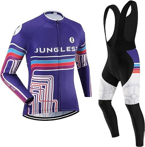 JNL Maillot de Cyclisme Homme Manches Longues Jersey(S5XL,Option Cuissard,3D Coussin) N130