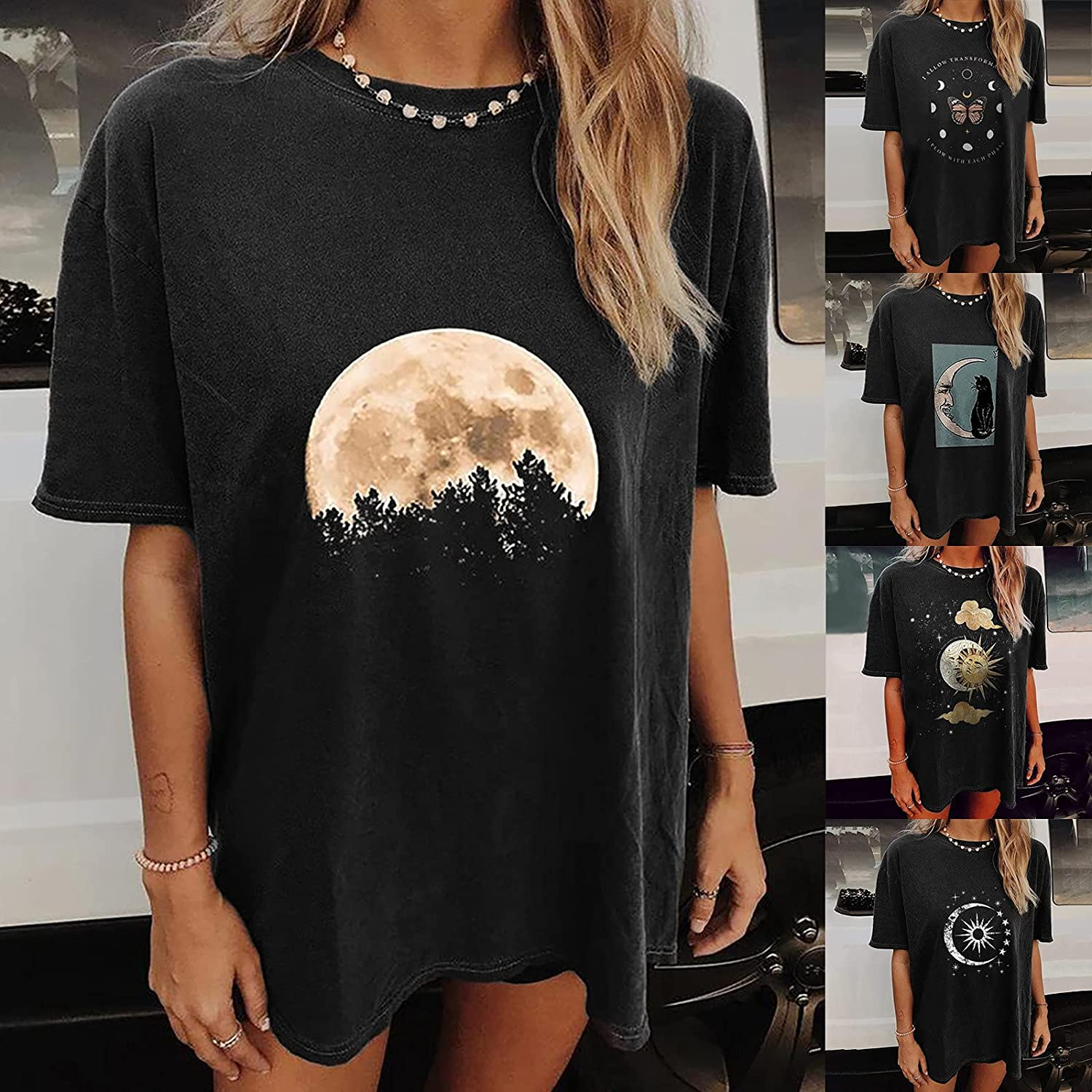 Womens Fashion Summer Casual T Shirt, Loose Fitting Tunic Blouse TeeS Graphic Short Sleeve Tops