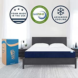 Sleep Innovations Marley 10-inch Cooling Gel Memory Foam Mattress Bed in a Box, Made in the USA, Queen, White