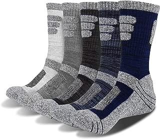 OBKJJ 5Pairs Men's Multi Performance Cushion Crew Socks for Outdoor Recreation Performance Trekking Climbing Socks