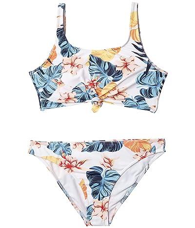 Roxy Kids Beautiful Mind Crop Top Swim Set (Big Kids) (Bright White Standard) Girl