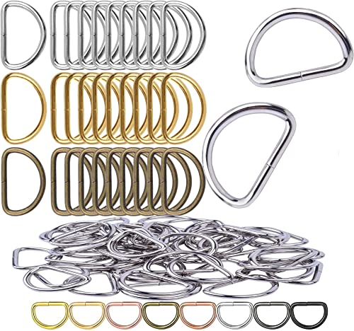 DIY Crafts Metal D Ring Semi Circular D Ring for Hardware Bags Ring Hand DIY Accessories for Jewellry Bags Wallets and Luggage Making DNo 2 5 Pcs Nickel Silver